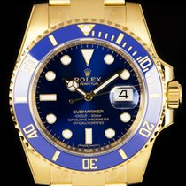 Rolex 18k Y/G Unworn Blue Dial Submariner Date B&P 116618LB