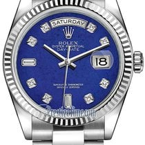 Rolex Day-Date 36mm White Gold Fluted Bezel 118239 Lapis...