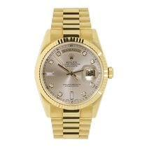 Rolex DAY-DATE 36mm 18K Yellow Gold President Silver Diamond Dial