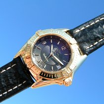Breitling Callistino Gelb Gold 750 18k Schwarzes Zifferblatt K...
