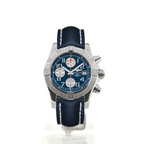 Breitling Avenger II 43 Blue Dial Blue Leather Strap Folding...