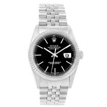 Rolex Datejust Steel White Gold Black Baton Dial Mens Watch 16234
