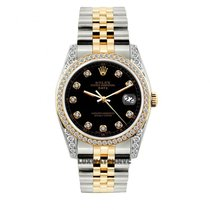 Rolex Date Unisex 34mm Black Dial Stainless Steel And Gold...