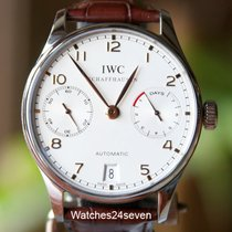 IWC Portuguese 7 Day Automatic Steel White Dial Gold Hands...