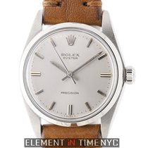 Rolex Oyster Stainless Steel On Brown Leather 34mm Silver Dial...