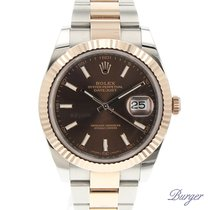 Rolex Datejust 41 Steel/Everose Fluted Chocolate Dial