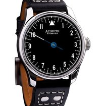 Azimuth Round-1 Back In Time Black Pilot Watch Backwards...