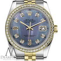 Rolex Ladies Rolex 26mm Datejust 2 Tone Tahitian Mop Mother Of...