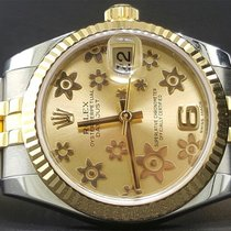 Rolex 31mm Datejust Steel/Yellow Flower Champagne Dial 178273...