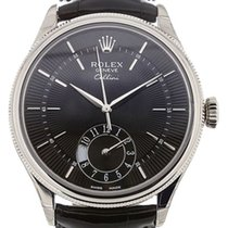Rolex Cellini Dual Time 50529-0007 Black Guilloche Index White...