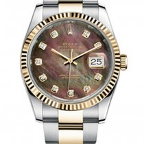 Rolex New Style Datejust Two Tone Fluted Bezel  & Black...