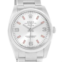 Rolex Air King Silver Dial Pink Baton Hour Markers Watch...