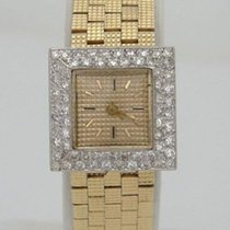 Ladies 14k Yellow Gold 3/4ct Diamond Bezel Square Dress Wrist...