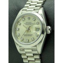 Rolex   Lady's Datejust, Platinum And Diamonds