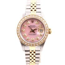Rolex Ladies 18K/SS Datejust Pink Mother Of Pearl Diamond Dial...