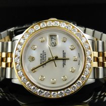 Rolex Mens Rolex 18K/ Steel Two Tone Datejust 36MM Channel Set...
