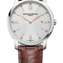Baume & Mercier Classima Silver Dial Brown Leather Strap