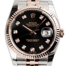 Rolex DateJust 36 Steel and Everose Gold Black/Diamonds...
