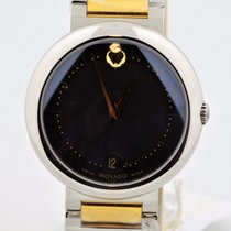 Movado Concerto Two Tone Stainless Steel Black Dial Swiss...