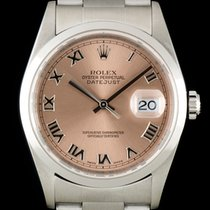 Rolex Datejust Gents Stainless Steel Salmon Roman Dial 16200