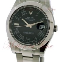 Rolex Datejust II 41mm, Black Roman Dial, Smooth Bezel -...