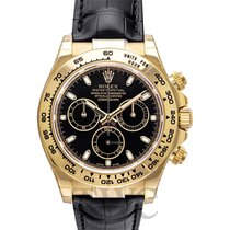 Rolex Daytona Black 18k Yellow Gold/Black Leather 40mm - 116518