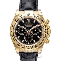롤렉스 (Rolex) Daytona Black 18k Yellow Gold/Black Leather 40mm -...