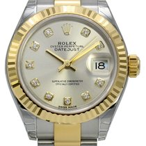 Rolex Datejust 28 Silver Dial Diamond Fluted Oyster SS/YG...