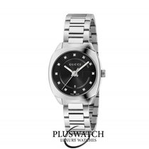 Gucci Quartz GG2570 Small Black Dial With Diamonds Stainless...