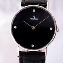 Milus 18K White Gold Diamond Dresswatch Unisex Brillianten...