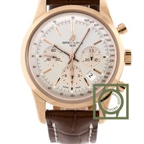 Breitling Transocean Chronograph 43mm Pink Gold Crocodile...