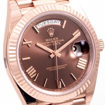 Rolex 40mm 18K Rose Gold Day-Date Chocolate Roman 228235 UNWORN