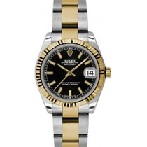 Rolex Datejust Ladies Midsize 178273-BLKSO Black Index Yellow...