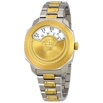 Versace Dylos Medusa White Disc Dial Ladies Two Tone Watch