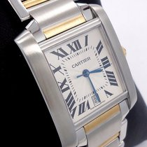 Cartier Large Tank Francaise Two Tone 18k Yellow Gold & Ss...