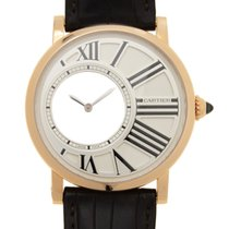 Cartier Rotonde De Cartier 18k Rose Gold Silver Manual Wind...