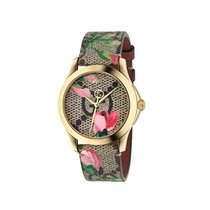 Gucci YA1264038 Gold Plated Floral Blooms Leather Strap...