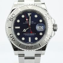 Rolex Yachtmaster Stainless Steel Platinum Bezel Blue Dial...