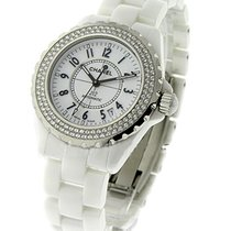 Chanel H0969 Full Size White J12 with Diamond Bezel - White...