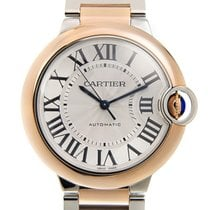 Cartier Ballon Bleu 18k Rose Gold And Steel Silver Automatic...
