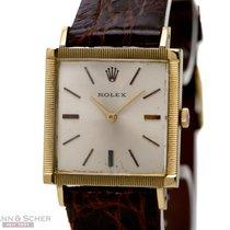Rolex Vintage Cellini Rectangular Gentlemans Watch 18k Yellow...