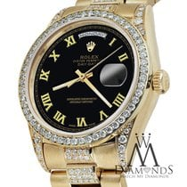Rolex 18k Yellow Gold Presidential Day Date 36mm Black Roman...