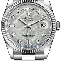 Rolex Day-Date 36mm White Gold Fluted Bezel 118239 Meteorite...
