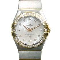 Omega Constellation 18k Gold Diamond Steel Silver Quartz...