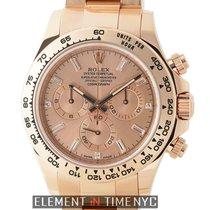 Rolex Daytona Cosmograph 18k Rose Gold Pink Baguette Diamond Dial