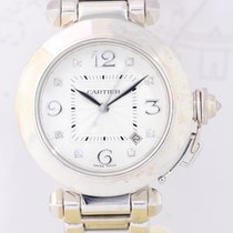 Cartier Pasha 18K white Gold Date Diamond Automatic Goldband rar