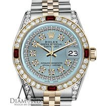 Rolex 36mm Datejust 2tone 18k Ice Blue String Diamond Ruby...
