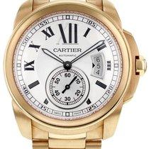 Cartier Rose Gold Silver Roman Dial Calibre De Cartier