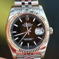 Rolex Mens Datejust 36mm Stainless Steel Black 116234 18k...