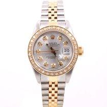 Rolex Ladies 18K/SS Datejust - Silver Diamond Dial/Diamond...